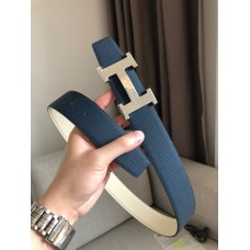 Hermes men belt marteelee Belt Buckle & double leather belt 38mm Reversible leather strap 38 mm blue with white