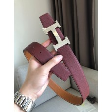 Hermes men belt marteelee Belt Buckle & double leather belt 38mm Reversible leather strap 38 mm red with brown