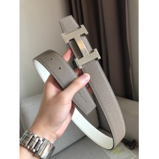 Hermes men belt marteelee Belt Buckle & double leather belt 38mm Reversible leather strap 38 mm White with grey